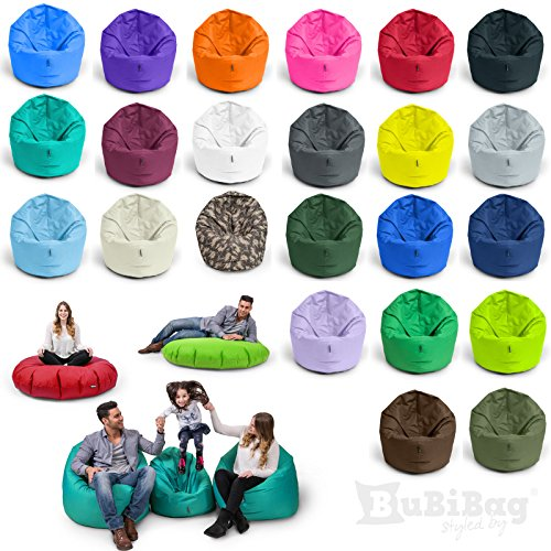 BuBiBag Sitzsack 2-in-1 Funktionen mit Füllung Sitzkissen Bodenkissen Kissen Sessel BeanBag (100cm Durchmesser anthrazit)