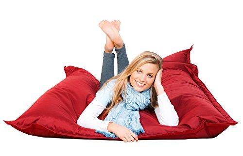 FETTI Sitzsack rot in 140 x 180 cm mit Füllung | Riesensitzsack | Indoor | Outdoor | XXL Sitzsack | Riesenkissen | Sitzkissen