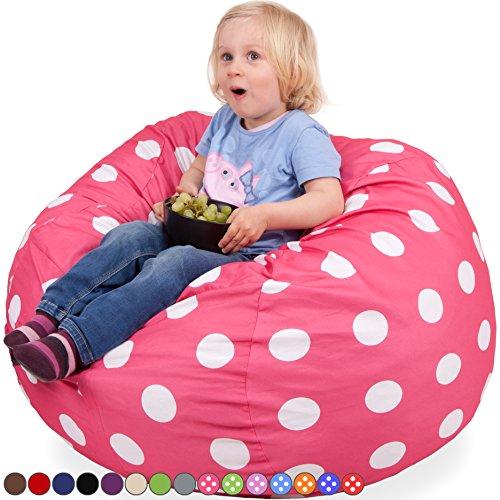 Kids Kinder Sitzsack in Pink mit Weißen Punkten - Waschmaschinenfest - Großer, Weicher und Komfortabler Bezug mit Memory Schaumstoff Füllung - Gemütlicher Gaming Sitz Sack & Bett Möbel Bean Bag
