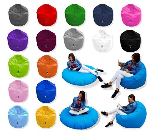 Patchhome 2 in 1 Funktion Sitzsack Sitzkissen Bean Bag - 125cm Durchmesser - Grau - 360 Liter in 25 Farben und 3 versch. Größen - fertig befüllt