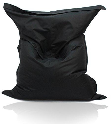 Kinzler S-10137/31 XXL Riesensitzsack, 140x180 cm, neue Styroporkügelchen, Sitzsack Outdoor Indoor, in vielen verschiedenen Farben, mit Innensack, schwarz