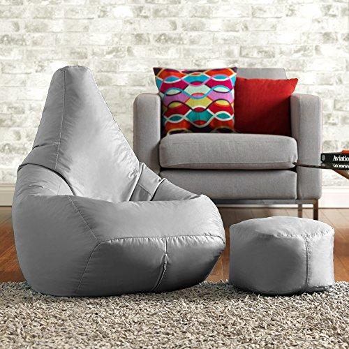 Sitzsack zum liegen und spielen mit kostenlosem passenden Hocker– Wasser abweisend für innen und außen, ein Sitzsack Stuhl von Bean Bag Bazaar - für Erwachsene und Kinder (Grau)