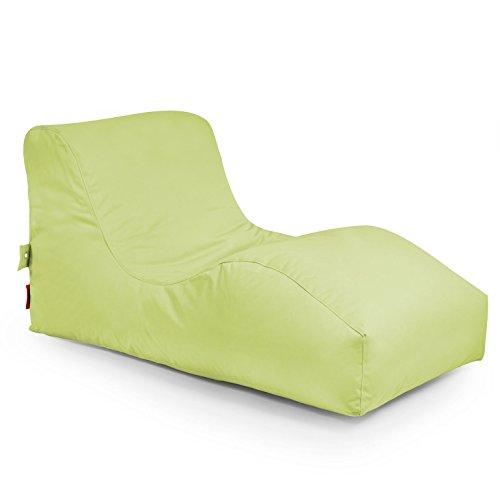 """Outdoor Sitzsack Liege """"Wave Plus"""" wetterfest frostsicher Gartenstuhl Gartensessel Gartenliege für draußen Outdoor Lounge Gartenmöbel moderner Look (Lime)"""