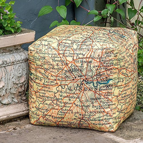 Designer Wasserdicht Garten Outdoor Sitzwürfel/Sitzhocker-Vintage Map of London, Handarbeit in der UK