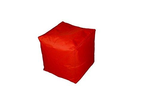 Outdoor Sitzwürfel Hocker Cube Würfel 40x40x40 cm in rot / feuerrot, wasserfest, PVC-Beschichtung, Styropor-Füllung für optimalen Sitz-Komfort bei Gartenpartys, auf der Terrasse, etc., pflegeleicht