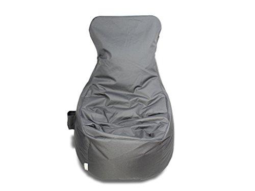 kissenwelt.de Sitzsack Sessel mit Lehne, Grau 280L, H90xB70xSitzH65 cm, Outdoor Polyester