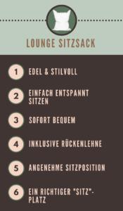 Lounge Sitzsack - Infografik